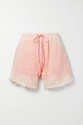 R13 - Distressed Tie-dyed Cotton-terry Shorts - Pink