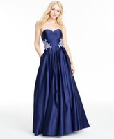 Blondie Nites Juniors' Strapless Applique Gown