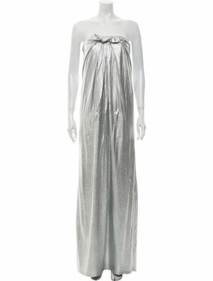 Halston Strapless Long Dress w/ Tags Silver