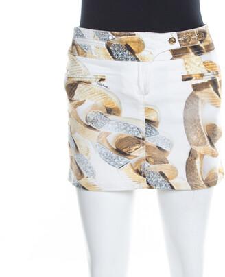 Roberto Cavalli White Denim Gold Chain Print Mini Skirt S