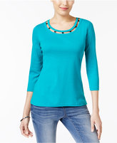 Karen Scott Cotton Cutout-Neck Top, Created for Macy's