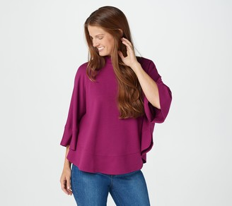 Isaac Mizrahi Live! French Terry Mock-Neck Knit Poncho Top