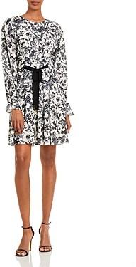 Jason Wu Floral Pintuck Long Sleeve Dress