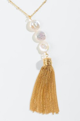 francesca's Bethany Freshwater Pearl Tassel Necklace - Pearl