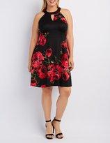 Charlotte Russe Plus Size Floral Keyhole Skater Dress