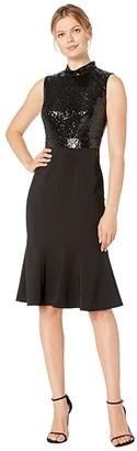 Maggy London Band Collar Mermaid Dress (Black) Women's Dress