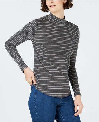 Charter Club Cotton Striped Mock-Neck T-Shirt