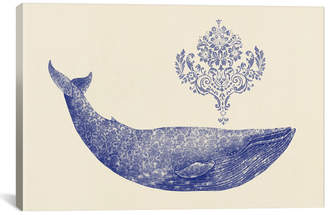 by Terry icanvasart Icanvasart Damask Whale t1 Fan