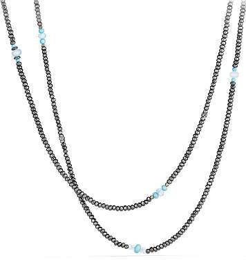 David Yurman Mustique Beaded Necklace with Hematine and Turquoise
