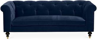 Kim Salmela Dexter Tufted Sofa - Indigo Velvet frame, espresso; upholstery, indigo; ferrules, brass