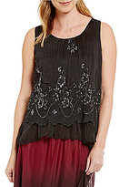 M Made in Italy M Made In Italy Sequin Ruffle Overlay Tank