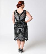 Unique Vintage Plus Size 1920s Style Black & Silver Deco Beaded Caspian Flapper Dress
