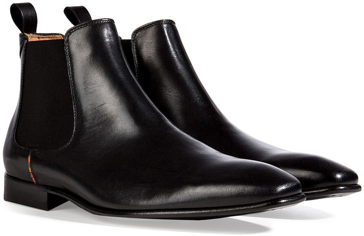 Paul Smith Shoes Leather Falconer Chelsea Boots in Black