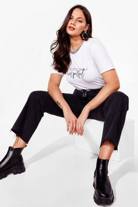 Nasty Gal Womens You're Perfectly Imperfect Plus Graphic Tee - White