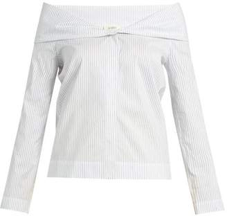 Isa Arfen Pinstriped Off-the-shoulder Cotton-blend Top - Womens - White Multi