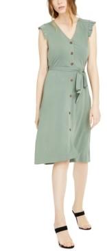 Monteau Petite Pleated Cap-Sleeve Dress