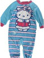 Hello Kitty Little Girls Sky Blue Striped Cat Print Zipper Onesie