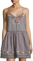 Tularosa Bloom Embroidered Slip Dress, Medium Gray