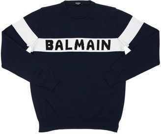Balmain Logo Intarsia Cotton Knit Sweater