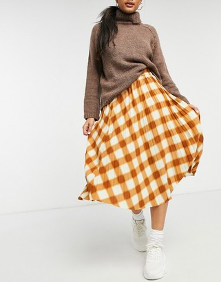 Monki Yan check pleated midi skirt in brown