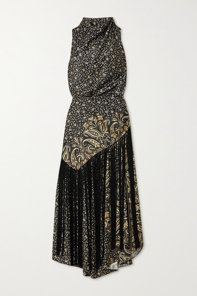 Jonathan Simkhai Dahlia Fringed Draped Paisley-print Satin Dress - Black