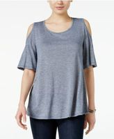 Style&Co. Style & Co Cold-Shoulder Flutter-Sleeve Top, Only at Macy's