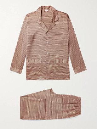 Zimmerli Printed Silk-Satin Pyjama Set - Men - Gold