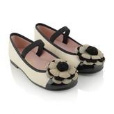 Pretty Ballerinas Pretty BallerinasCream & Black Flower Hannah Shoes