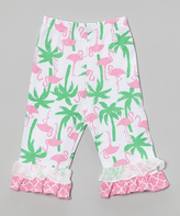 Flap Happy Flamingo Fun Ruffle Capri Leggings - Toddler & Girls