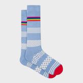 Paul Smith Men's Light Blue 'Mixed Bag' Block Stripe Socks