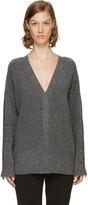 3.1 Phillip Lim Grey Pearl Cuff V-neck Sweater