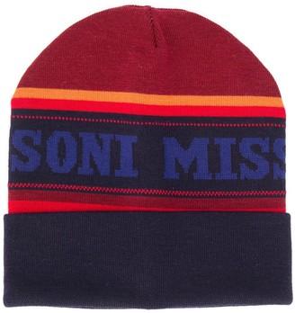 Missoni Striped Logo Printed Beanie Hat