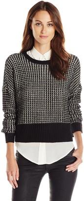 Jack Women's Oria Cropped Round Neck Textured Sweater