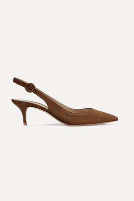 Gianvito Rossi Anna 55 Suede Slingback Pumps - Brown