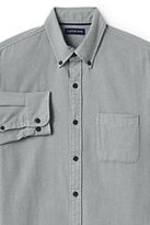 Lands' End Men's Tailored Fit Long Sleeve Solid Flagship Flannel Shirt-Light Spruce