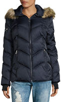 Nautica Faux Fur-Trimmed Chevron Puffer Coat
