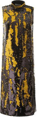 Ganni SEQUINED MIDI DRESS 34 Black, Yellow