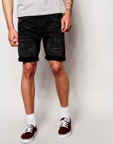 Jack & Jones Straight Fit Rip And Repair Denim Shorts