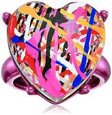 Betsey Johnson Harlem Fuchsia Metallic Tone with Large Heart Shaped Crystal Stone Covered with Graffiti Splatter Ring, Size 8