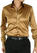 EUROUS Men's Fashion Shiny Regular-Fit Solid Color Dance Prom Silk Like Dress Shirt (XL, )