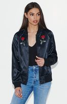 KENDALL + KYLIE Kendall & Kylie Lost In Love Satin Embroidered Bomber Jacket