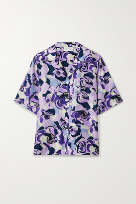 ART DEALER Floral-print Silk-satin Twill Shirt - Purple