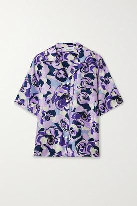 ART DEALER Floral-print Silk-satin Twill Shirt