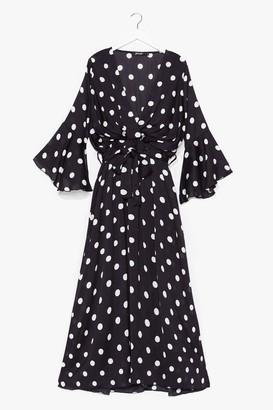 Nasty Gal Womens Polka Dot Drape Front Maxi Dress - Black - S