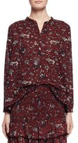 Etoile Isabel Marant Amaria Long-Sleeve Floral Blouse, Burgundy/Gray