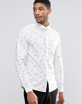 Asos Skinny Shirt With Geo Ditsy Print With Long Sleeves In White