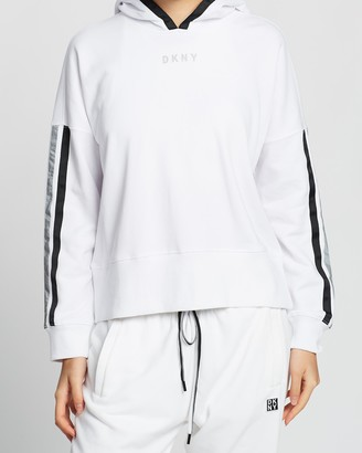 DKNY Cropped Hoodie with Pop & Reflective Taping