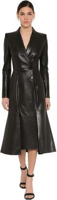Alexander McQueen FLARED NAPPA LEATHER TRENCH COAT