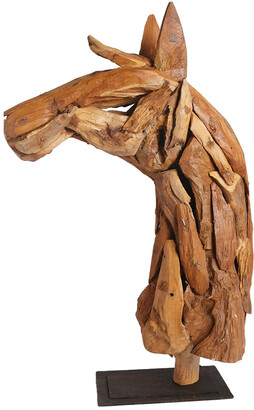 Go Home Wood Horse Head On Iron Stand Sculpture