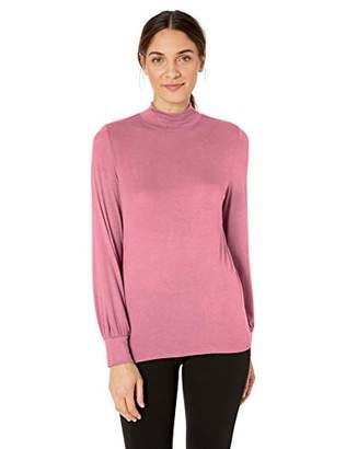 Lark & Ro 1-by-1 Rayon Span Semi-Funnel Neck Full Sleeve Top Shirt,(EU 2XL)